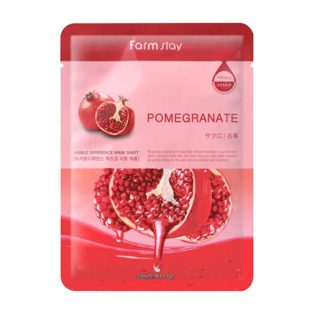 (Китай) Тканевая маска FarmStay Visible Difference Mask Sheet Pomegranate
