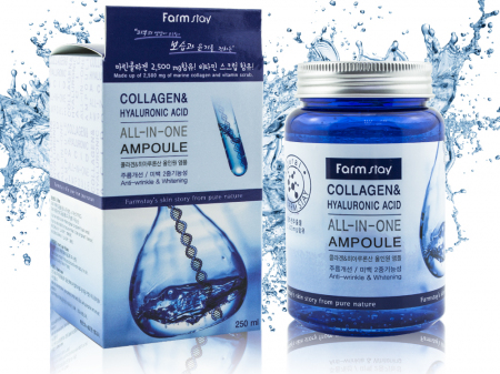 (Корея) Антивозрастная сыворотка FarmStay Collagen and Hyaluronic Acid All-in-One Ampoule