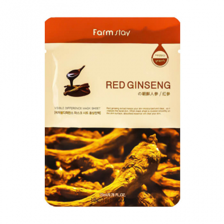 (Корея) Тканевая маска FarmStay Visible Difference Mask Sheet Red Ginseng